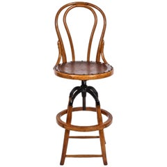Adjustable Bentwood High Back Oak and Black Iron Architects Swivel Stool