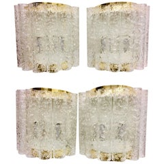 Four (4) German Brass Six Tubes Doria Glass Sconces
