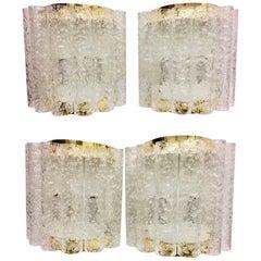 Four (4) German Brass Six Tubes Doria Glass Sconces