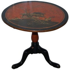 Japanned Lacquered Antique Side End Lamp Wine Round Table of Good Size Japan