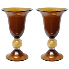 """Pair of Vases in Murano Glass Signed """"Toso Murano"""""""