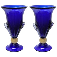 "Pair of Vases in Murano Glass Signed ""Toso Murano"""