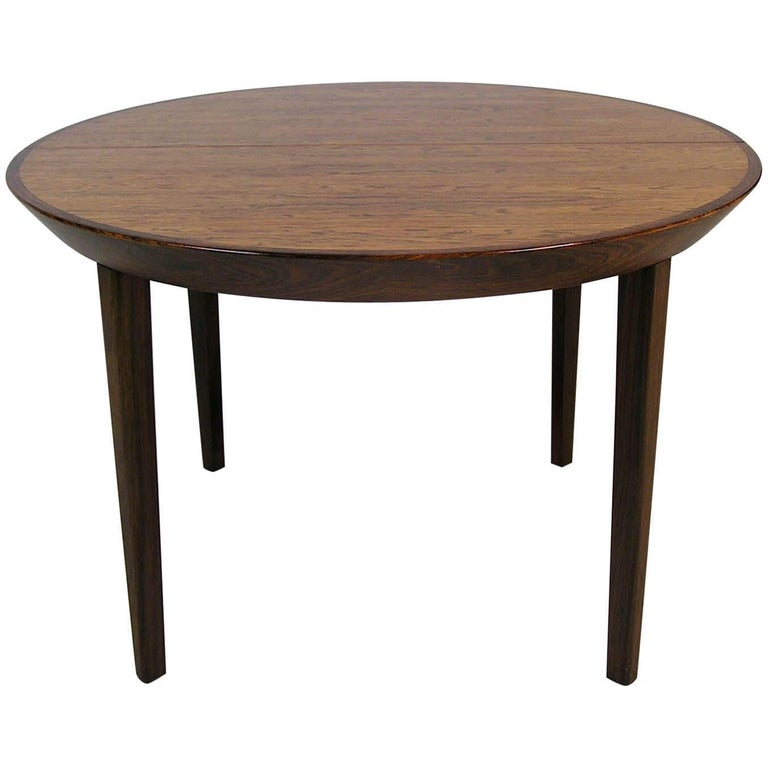 1960s Round Rosewood Gudme Mobelfabrik Dining Table by Ole Hald, Denmark