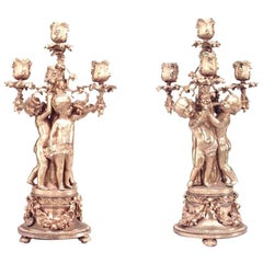Pair of French Louis XV Style '19th Century' Four-Arm Candelabra