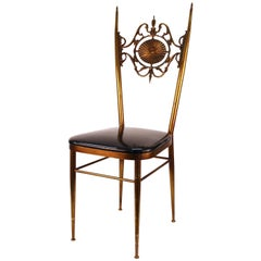 Chiavari Side Chair in Brass with Leda and Swan Relief