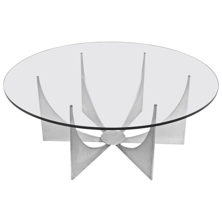Donald Drumm Minimalist Brushed Aluminum and Round Glass Coffee Table