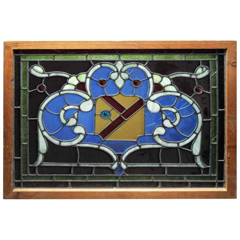 1915 Arts & Crafts Salvaged Stained Glass Window with Shield