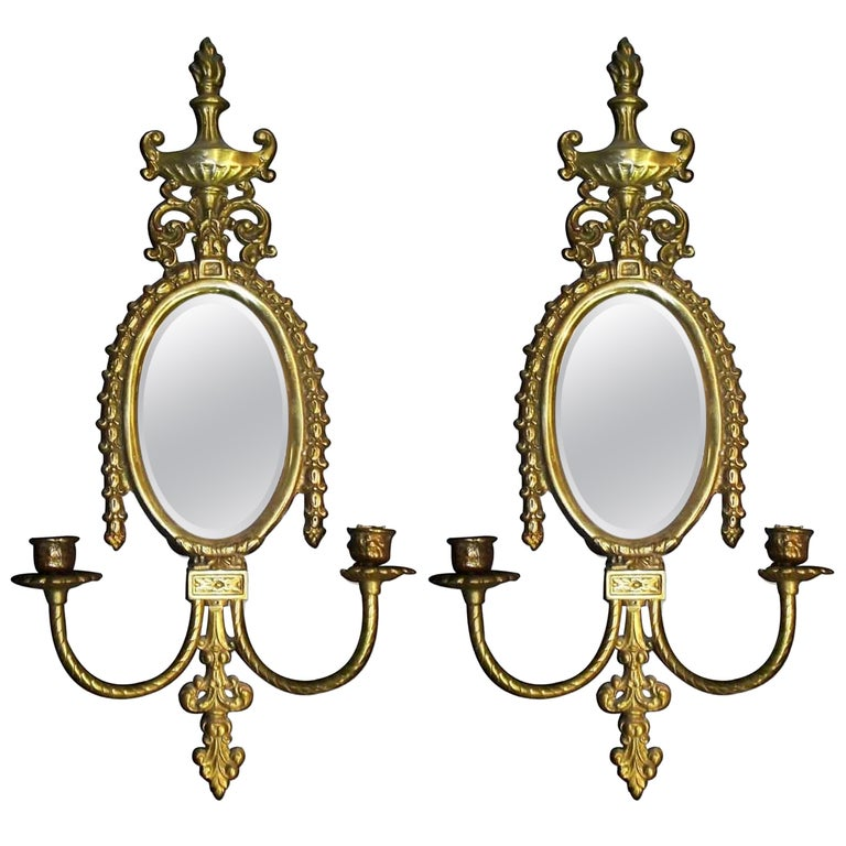 1930s Pair of Non Electrified Brass Two-Arm Candle Sconces with Bevelled Mirror