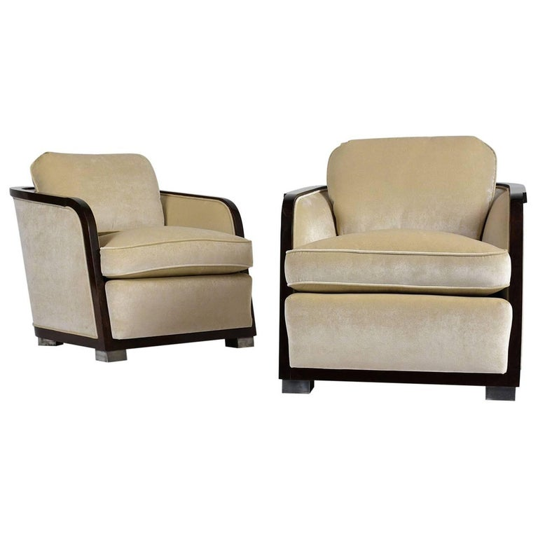 Pair of Art Deco Club Chairs For Sale