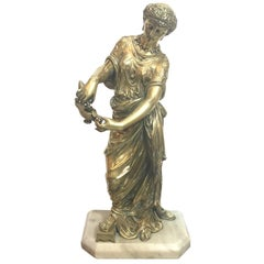 Polished Bronze Greek Neoclassical Figure of a Maiden, 19th Century