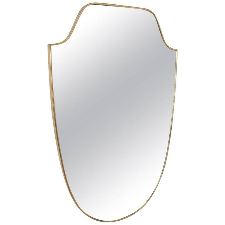 Brass Frame 'Shield' Mirror