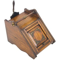 Coal Scuttle, Coal Hod, Fireplace Decor, Carved Oak with Shovel, 1870, B1085
