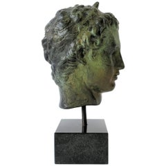 Bronze Bust Sculpture on Black Marble Base