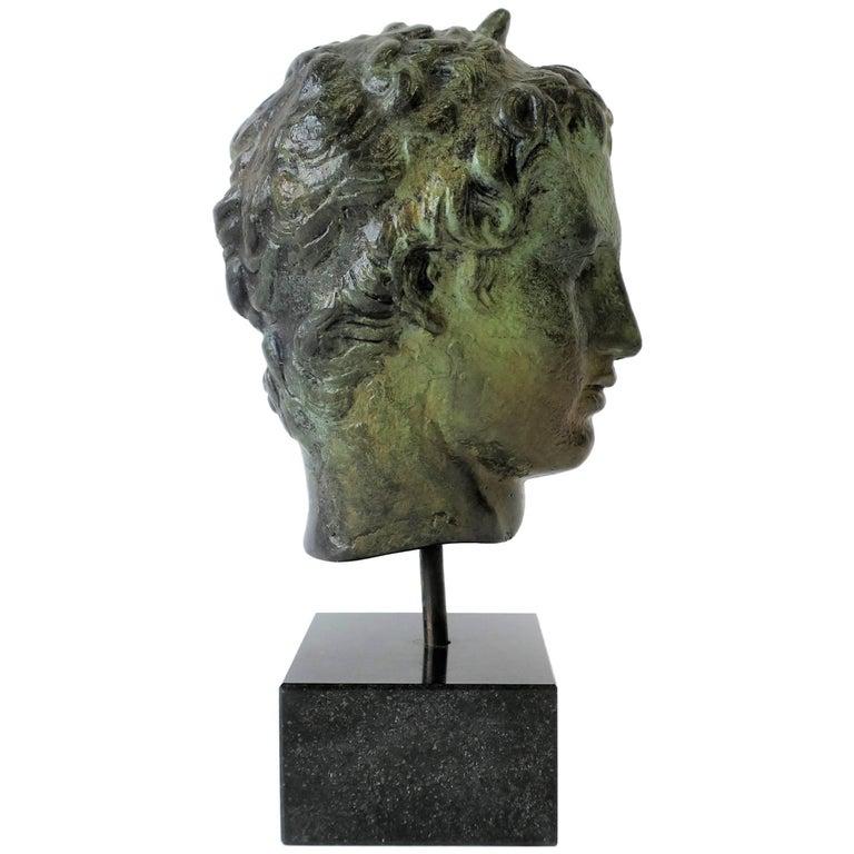Bronze Bust Sculpture on Black Marble Base