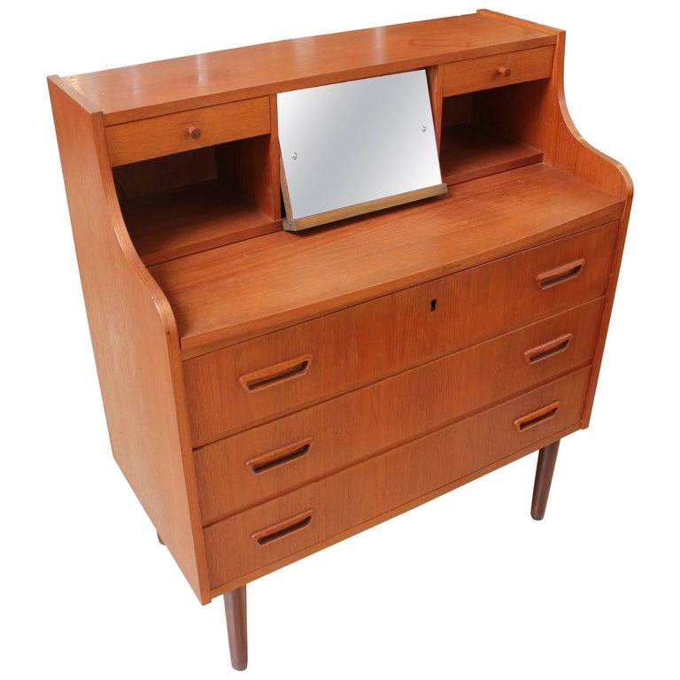 1950s Danish Modern Teak Secretary Desk with Vanity Mirror