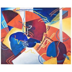 """Terrace,"" Brilliant, Cubist-Expressionist Masterpiece by Virginia True, 1946"