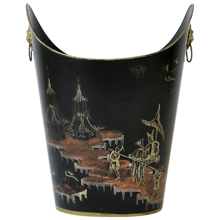 Italian Black and Gold Wastebasket or Trash Can, Mid-20th Century
