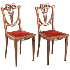 French Art Nouveau Carved Walnut Side Chairs