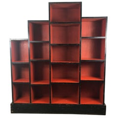 Paul Frankl Skyscraper Art Deco Bookcase, Red and Black