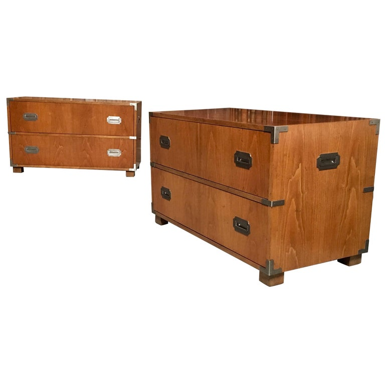 Pair of Baker Campaign Style Two-Drawer Dresser Cabinets