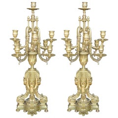 Pair of Bronze 19th Century Candelabras