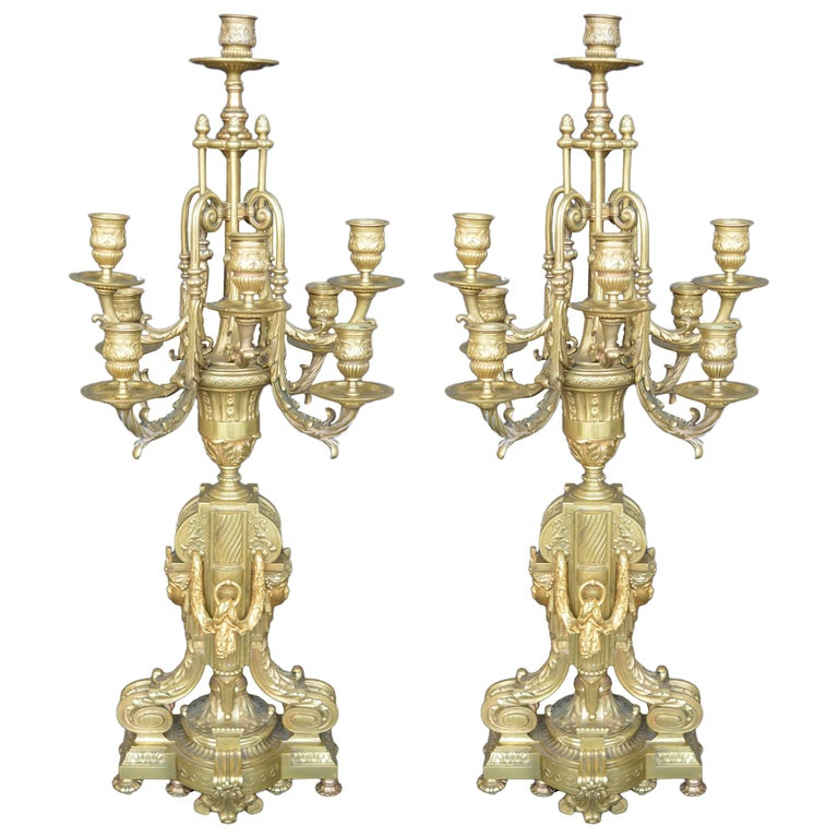 Pair of Bronze 19th Century Candelabras For Sale