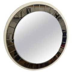 Italian 20th Century round Mirror by Cristal Art with wooden frame, circa 1960s