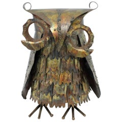 Midcentury Brutalist Patinated Brass Owl Sculpture