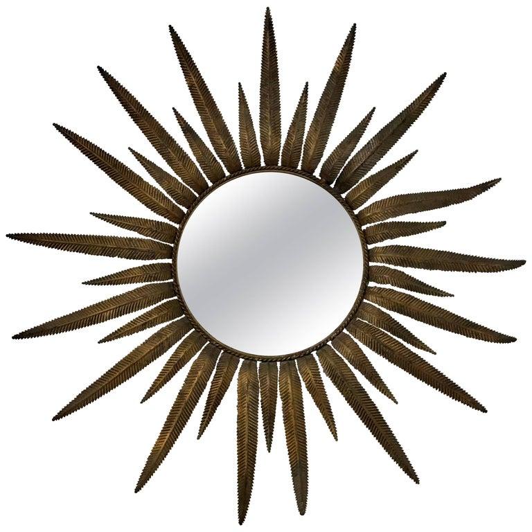 Italian Midcentury Gilt Metal Sunburst Mirror