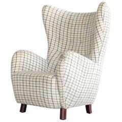 Danish 1940s Flemming Lassen High Back Lounge Chair