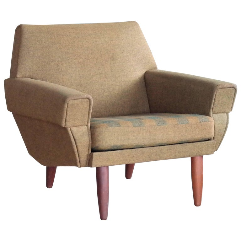 Danish Midcentury Low Back Easy or Lounge Chair in the Style of Kurt Ostervig