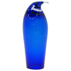 Blue Art Glass Penguin, Maybe Murano or Swedish, Free Fast Shipping