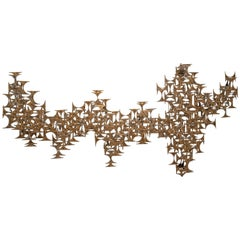 Mid Century Marc Weinstein Abstract Metal Wall Sculpture