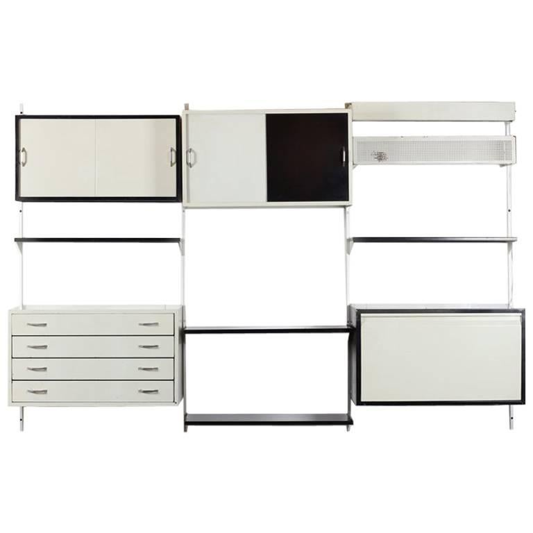 Comprehensive Storage System Wall Unit with Steel by Wim Rietveld