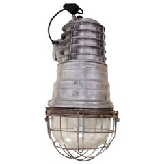 Industrial Warehouse Light in Polished Aluminium, circa 1950