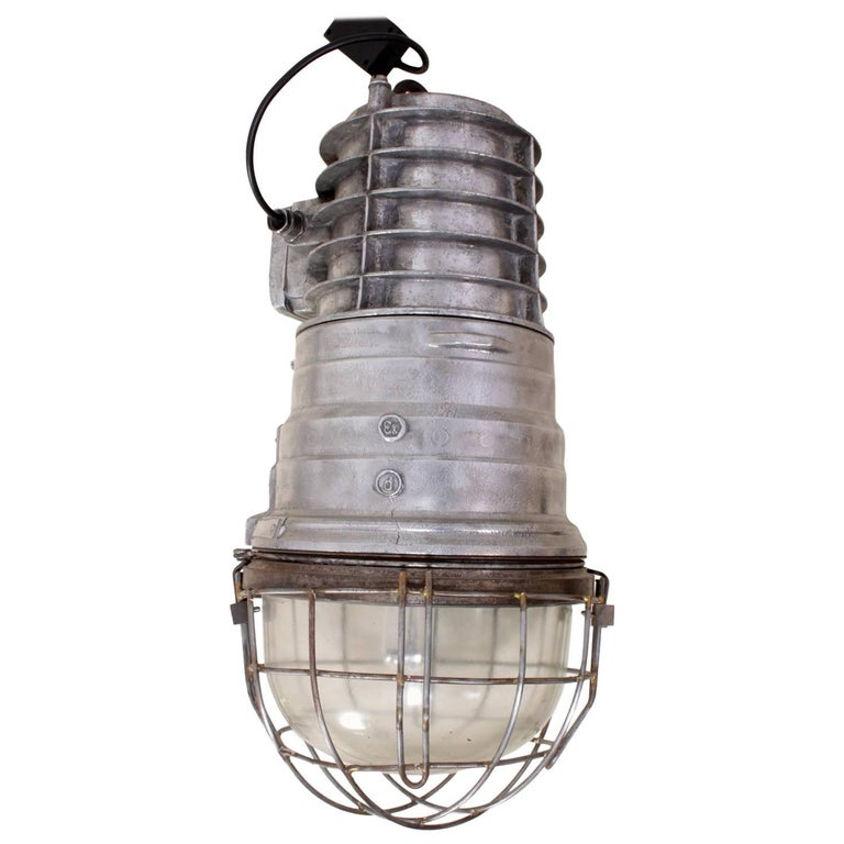 Industrial Warehouse Light in Polished Aluminium, circa 1950