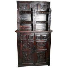 17th Century Antique Housekeepers Oak Bookshelf Cupboard