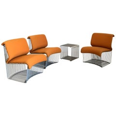 1971, Verner Panton Set for Fritz Hansen Pantonova Chairs Original Orange Fabric