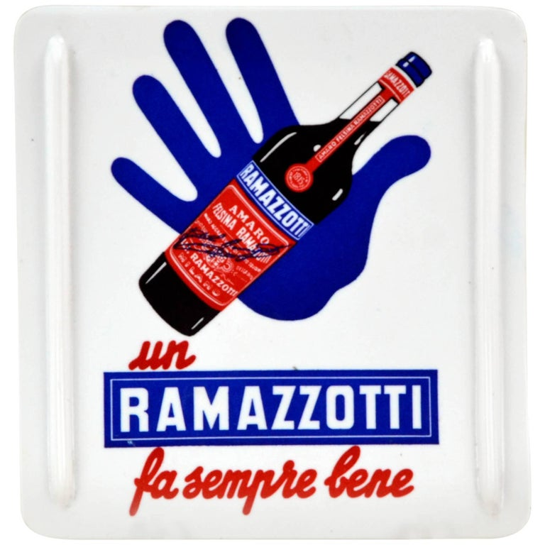 1950s Italian Vintage Plastic Ramazzotti Rectangular Money Tray