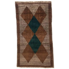 1970s Gabbeh Rug Hand-Knotted in Wool Brown and Green