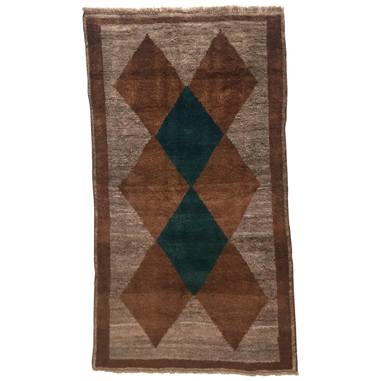 1970s Gabbeh Rug Hand-Knotted in Wool Brown and Green For Sale