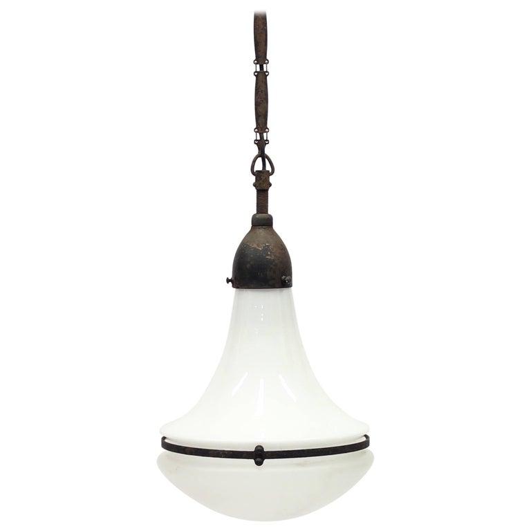 Vintage German Luzette Hanging Lamp by Peter Behrens, 1910s
