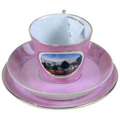 1900s Porcelain Souvenir Mustache Cup in Antique Pink Lustre Made in Germany