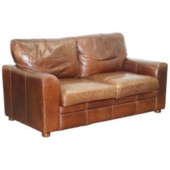 Vintage Heritage Aged Brown Leather Halo Soho Two to Three-Seat Sofa