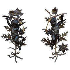 Antique Pair of 19th Century Baroque Revival Angels / Putti with Bronze Flowers