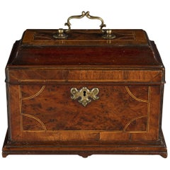Early George II Period Early 18th Century Walnut Inlaid Tea Chest