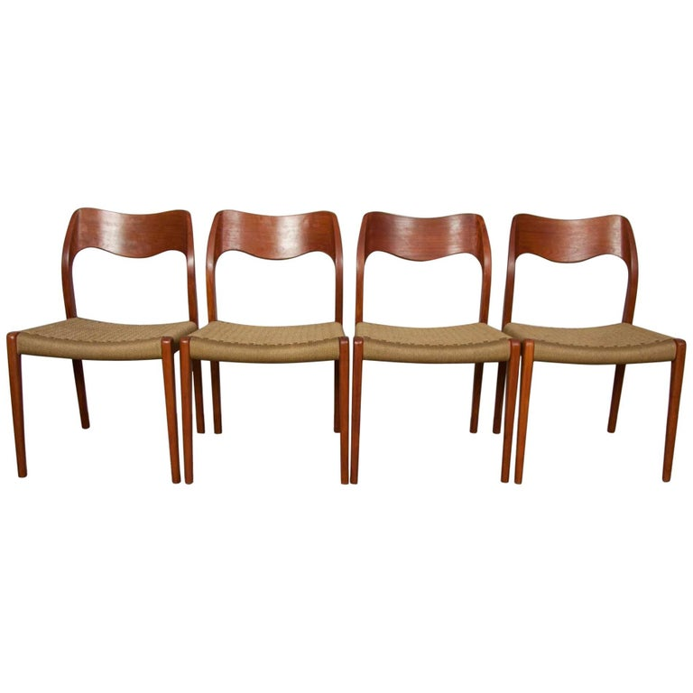 Set of Four Teak Danish Niels Møller 71 Chairs for J.L. Møllers