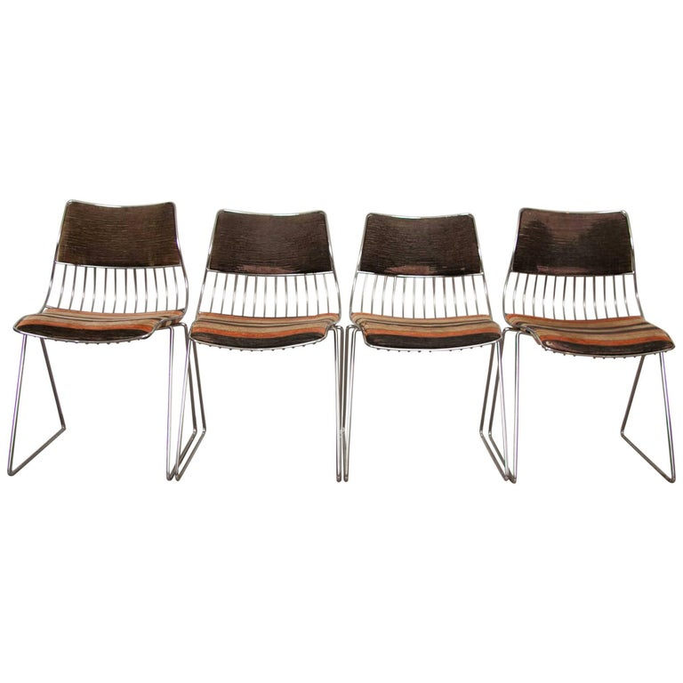 Set of Four 1970s Belgium Dining Chairs by Rudi Verelst for Novalux