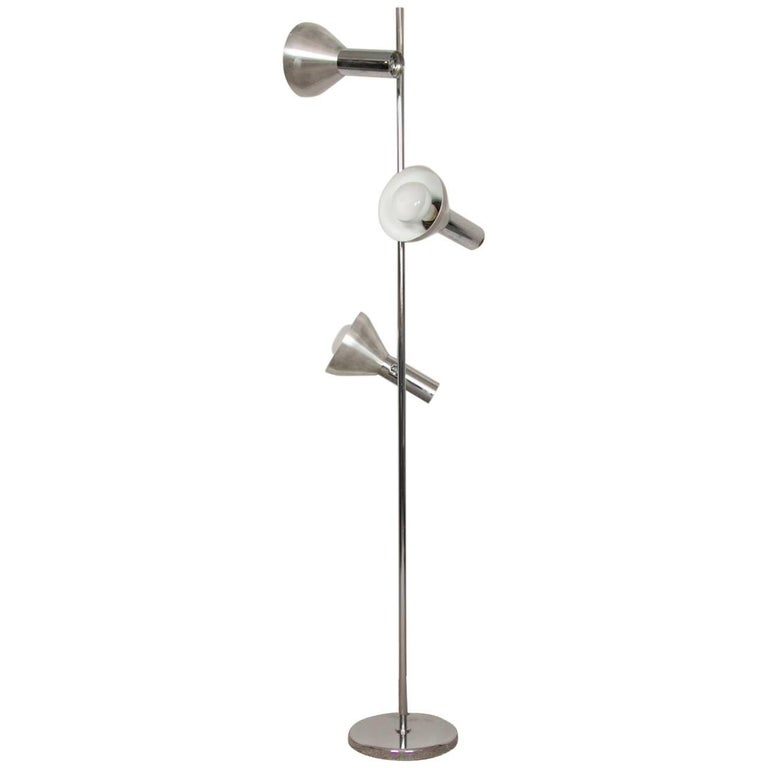 1970s French Chrome Adjustable and Directional Three Shade Floor Lamp