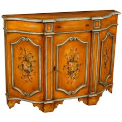 Italian Sideboard in Painted Wood with Floral Decorations from 20th Century